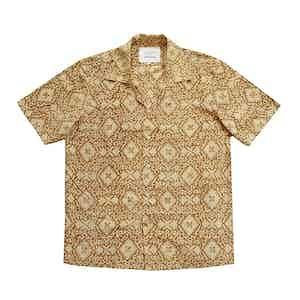 Mustard Block Print Short Sleeved Shirt