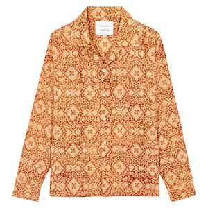 Mustard Block Print Long Sleeve Shirt