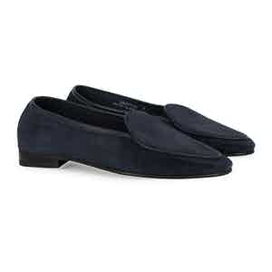 Navy Suede Unlined Hampton Loafer
