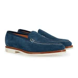 Navy Suede and White Riviera Loafer