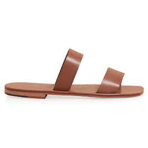 Alex Tobacco Two Strap Calf Sandal
