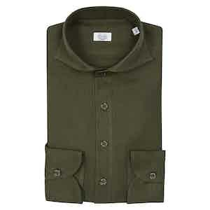 Green Spread Collar Shirt