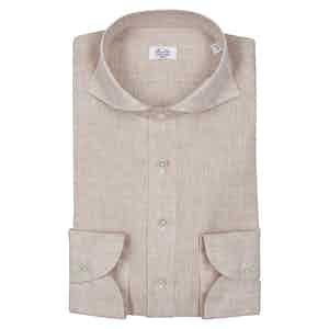 Beige Spread Collar Shirt