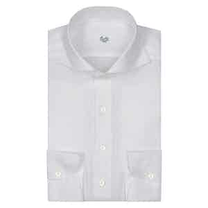 White Linen Spread Collar Shirt
