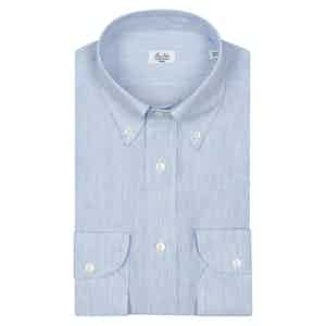 White And Sky Blue Stripe Button Down Shirt