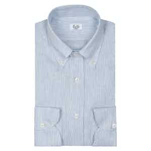 White And Sky Blue Large Stripe Button Down Shirt