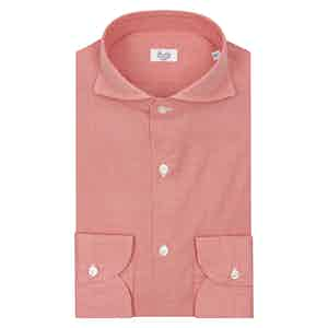 Red And White Check Spread Collar Shirt