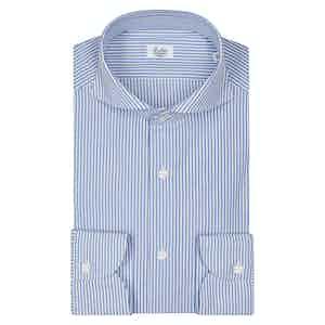 White And Blue Stripe Spread Collar Shirt