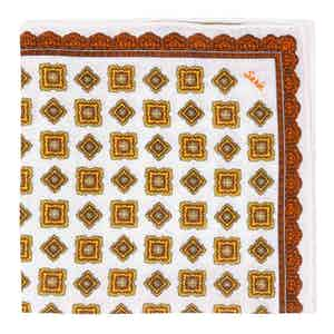 Orange Rombs Linen Pocket Square