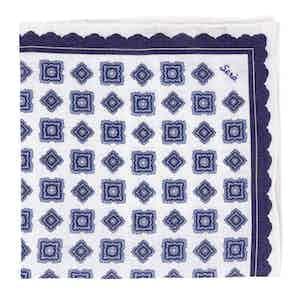 Blue Rombs Linen Pocket Square