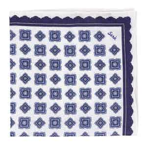 Blue Rombs Linen Pocket Square