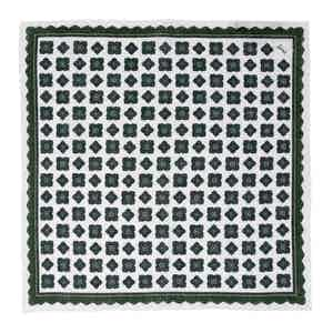 Green Rombs Linen Pocket Square