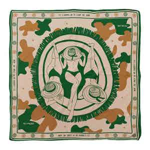 Camel and Green Beautiful Day Silk Pocket Square