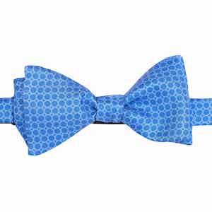 Sky Blue Circles Silk Bow Tie