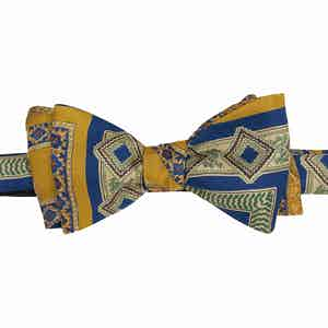 Navy and Gold Geometric Silk Bow Tie