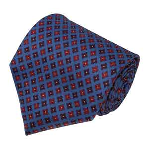 Dusty Blue and Red Squares Silk Tie