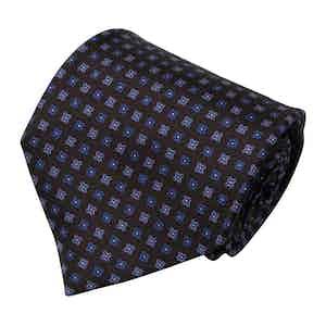 Dark Brown and Blue Squares Silk Tie