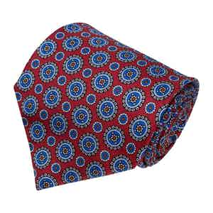 Red and Blue Medallion Silk Tie