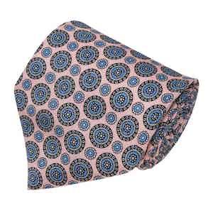 Light Pink and Blue Medallion Silk Tie