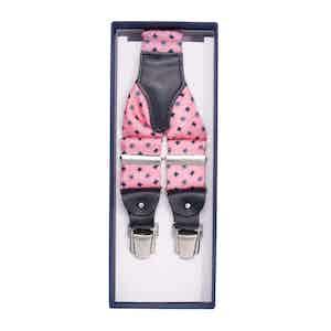 Pink and Blue Flowers Silk Suspenders