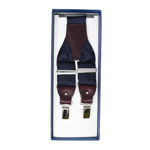 Navy Blue Silk and Burgundy Leather Suspenders