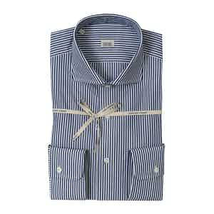 Blue Striped Cotton Shirt With High French Collar