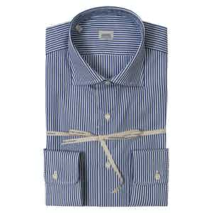 Blue Striped Super Fine Cotton Shirt With Italian Collar