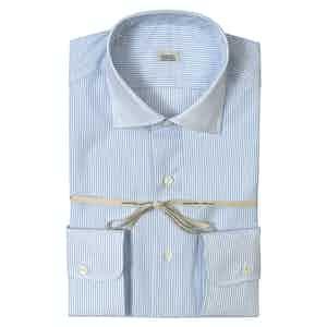 Light Blue Striped Super Fine Cotton Shirt With Italian Collar