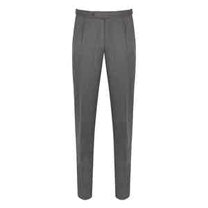 Grey Covert Pleated Trousers