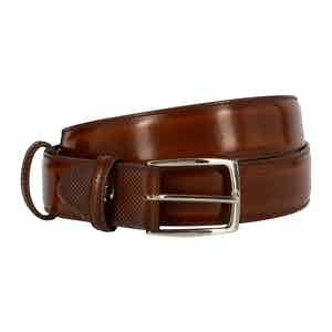 Dark Brown Polished Leather Belt