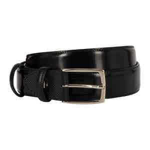 Black Polished Leather Belt