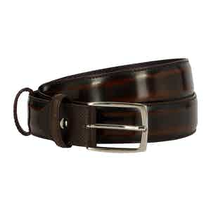 Deep Choc Polished Leather Belt