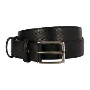 Black Dadino Texture Leather Belt