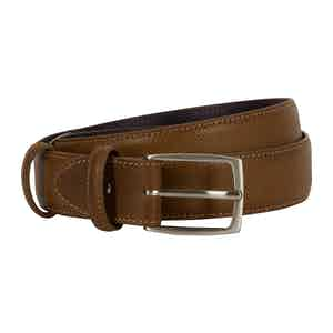 Brown Dadino Texture Leather Belt