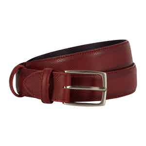 Burgundy Dadino Texture Leather Belt