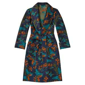 Navy Butterfly Unlined Silk Dressing Gown