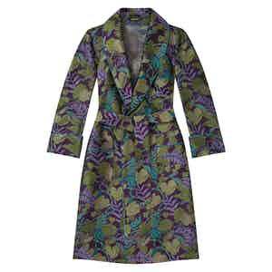 Purple Green Exotic Foliage Unlined Silk Dressing Gown