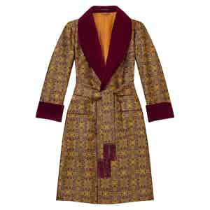 Burgundy Rococo Lined Silk Dressing Gown