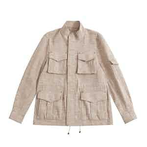 Pink Melange Linen-Silk De Niro M65 Field Jacket
