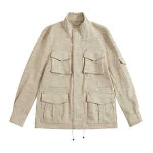 Cream Melange Linen-Silk De Niro M65 Field Jacket