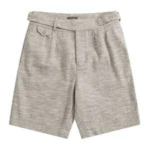 Blue Melange Linen-Silk Gurkha Shorts