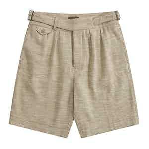 Cream Melange Linen-Silk Gurkha Shorts
