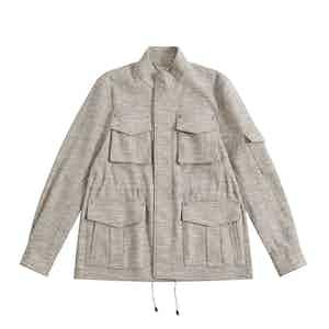 Blue Melange Linen-Silk De Niro M65 Field Jacket
