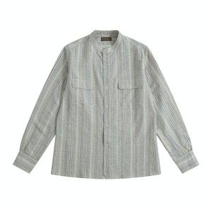 Blue/Cream Vintage Fabric Band Collar Vacation Shirt