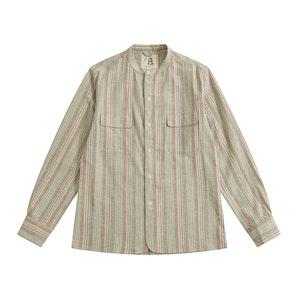 Rainbow Vintage Fabric Band Collar Vacation Shirt