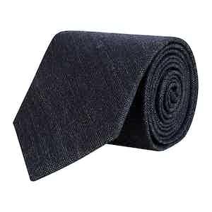 Grey/Midnight Pindot Merino Wool Tie