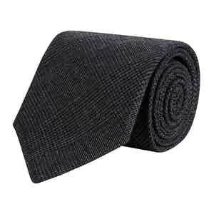 Charcoal Prince of Wales Merino Wool Tie