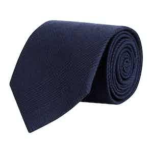 Navy Prince of Wales Merino Wool Tie