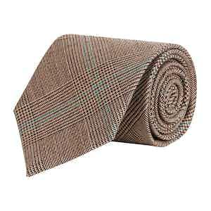 Brown Glen Check Super Fine Merino Wool Tie
