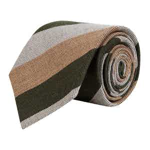 Forest Green and Tan Three Striped Wool Tie